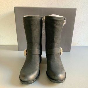 Vince Camuto 6.5M Leather Round Toe Mid calf Black